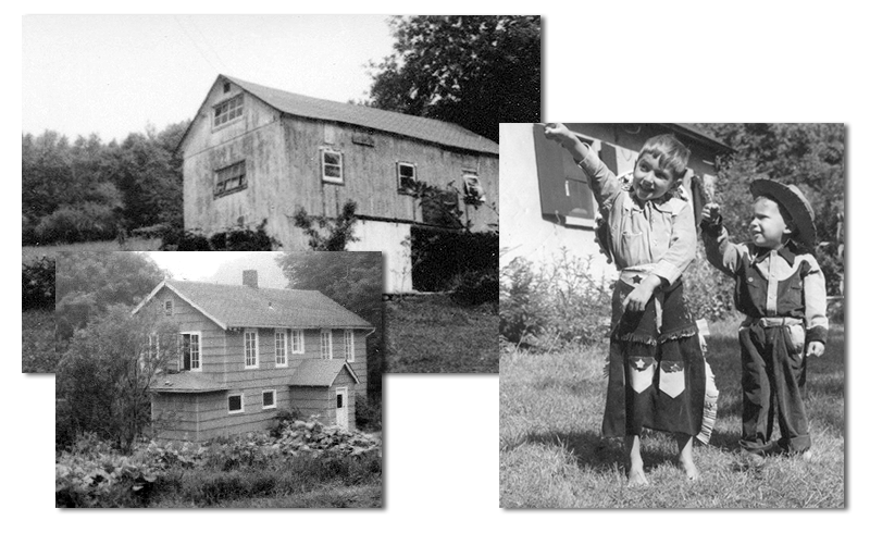 old house, barn, little boys in cowboy costumes